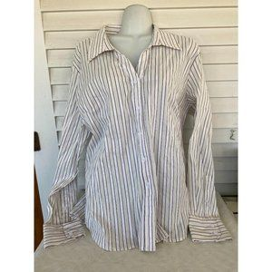 tangenis sz XL button front striped blouse